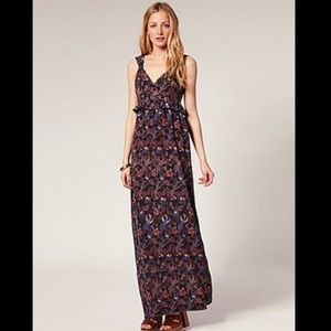 French connection silk Phoenix bird maxi dress